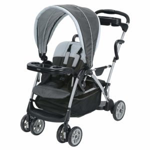 Graco Roomfor2 Stand and Ride Stroller, Lightweight Double Stroller with Toddler Standing Platform, Gotham